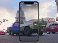 Elon Musk's Cyber Vision cyberpunk future concept ui uiux design ukraine animation ios mobile motion 3d motion design application app augmented reality elonmusk tesla cybertruck
