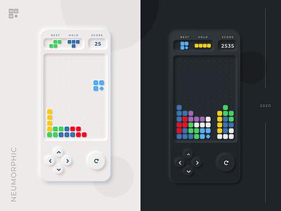 Neumorphic Tetris clean ios app mobile tetromino mdm 2020 design game dark mode interface uiux ui concept tetris neumorphic neumorphism