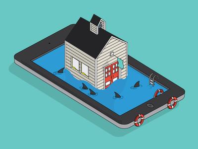 iPads in Kindergarden illustration vector flat