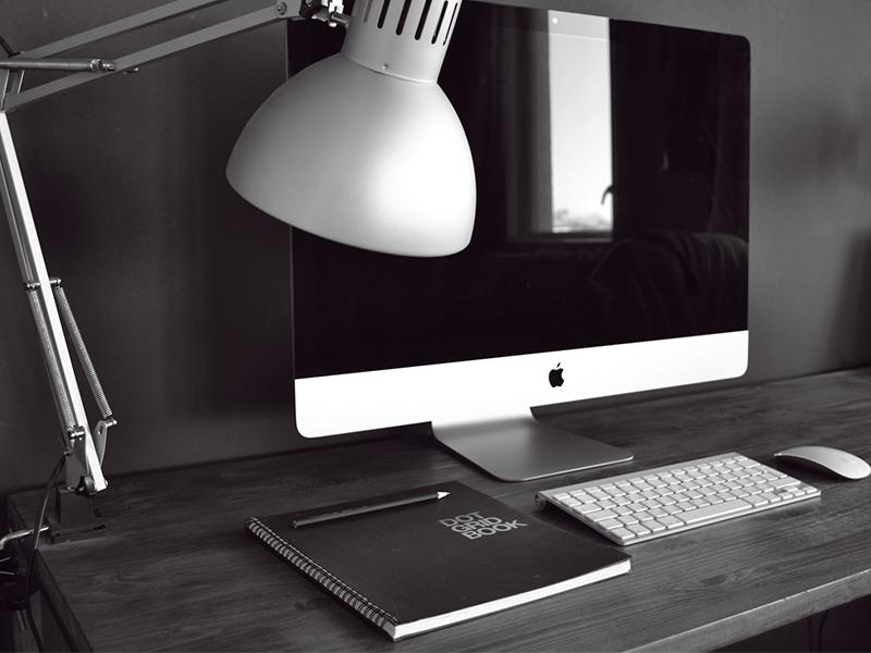 Workspace desk workspace imac black white custom set up