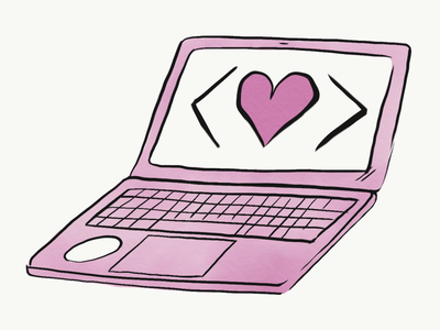 Hackentine's Day laptop code code love code as craft girl develop it gdi hackentines day