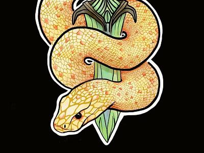 Snake with Dagger art artwork sketch photoshop digital illustration illustration lineart drawing dagger snake