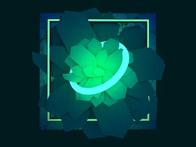 Seippelabel Volume 10 Album Art low poly gradient neon flower plant music record album album art 3d art adobe dimension 3d