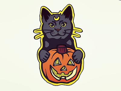Cat Pumpkin magic witch luna sticker jackolantern illustration stickermule halloween pumpkin cat