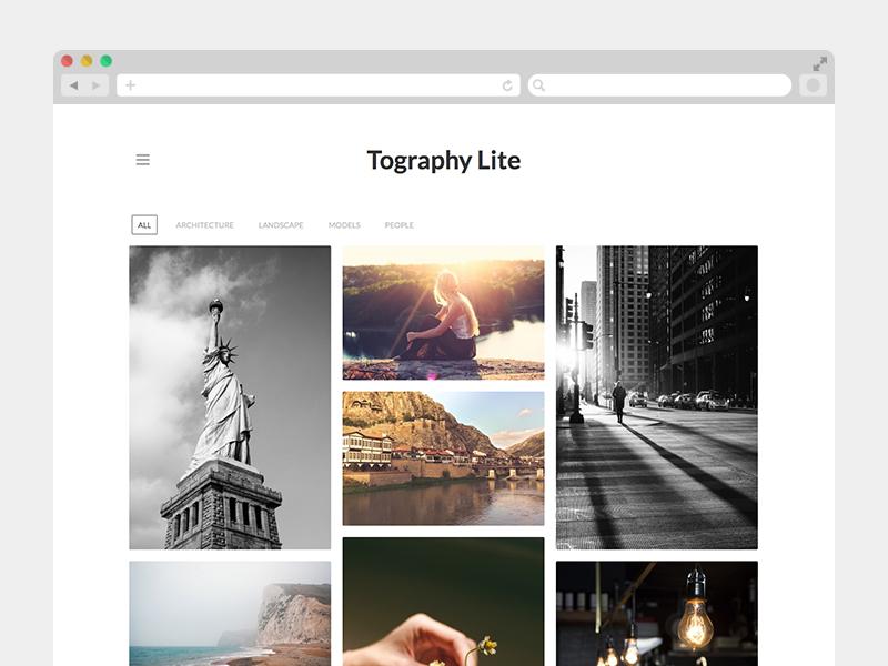 Tography Lite photography portfolio free clean light theme wordpress