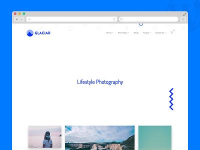 Glaciar WordPress Theme shop woocommerce wp template clean photographers photography portfolio theme wordpress