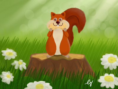 Furry critters illustrazioni furry critters squirrel illustrations flower drawing digital painting digital art digital artwork art animals 2d cartoon cartoon illustration illustration