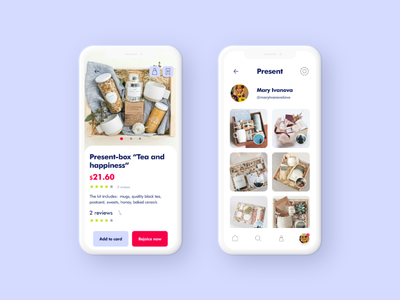 Mobile App Product Card and Present from friends product card product ui app minimal app design mobile app mobile