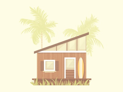 Beach Shack surfboard tropical shack house architecture illustration