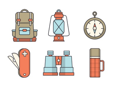 Camping Icons binoculars thermos compass lantern knife backpack camping illustration icons icon