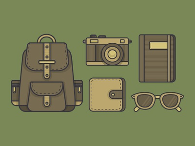 What's In Your Bag? sunglasses journal notebook wallet camera bag backpack icon icons