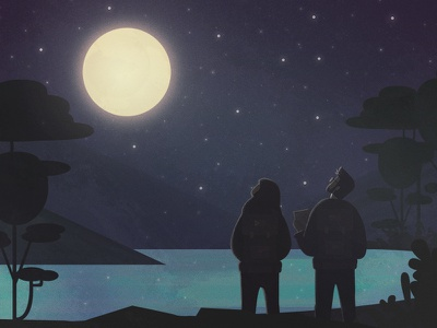 Canva Philosophies adventure outdoors silhouettes illustration sky stars moonlight mountains lake moon night