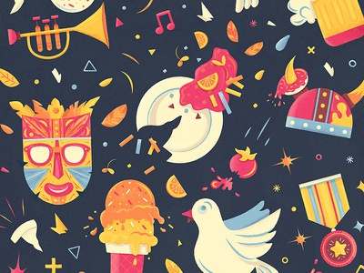 Celebrate! confetti tomato plate beer trumpet mask ice cream dove doughnut schnitzel pattern illustration