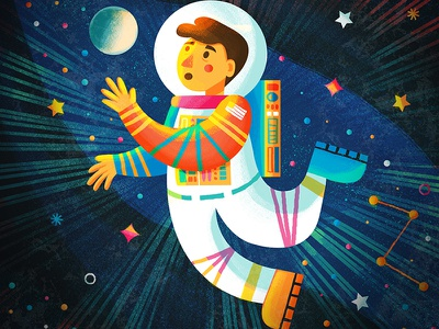 Rocketman astronaut space illustration