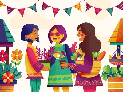 Settling In shopping flowers people food market illustration