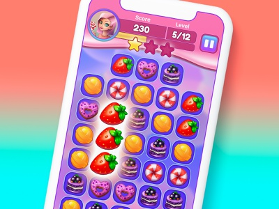 Art and Ui for mobile sweet match-3 game sweet match3 buttons button art game ui
