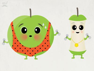 Unitarded Apples apple illustration exercise