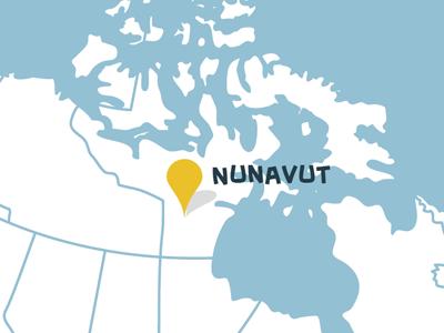 Nunavut map (detail of CMA infographic) canada illustration infographic location map nunavut