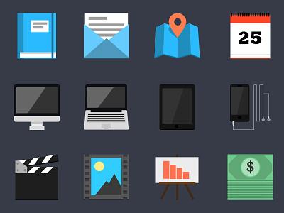 Flat Icon Set v1 icons flat set illustrator web design design imac macbook iphone ipad
