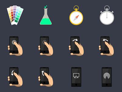 Flat Icon Set V3 flat set illustrator web design design hand gestures gestures iphone pantone testing icons