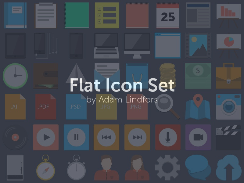 Flat icon set preview