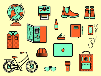 Let's Travel, All Right? illustration travel hiking globe map. macbook bike icons