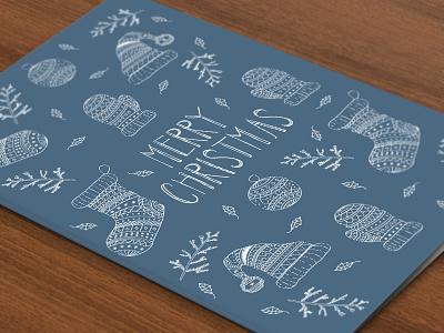 Christmas Card santa sock ornament christmas card pattern illustration