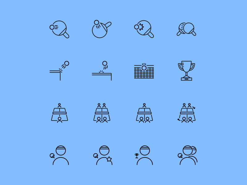 Pingicons icons icon set line icons table tennis pingpong png eps svg psd ai sketch creative market