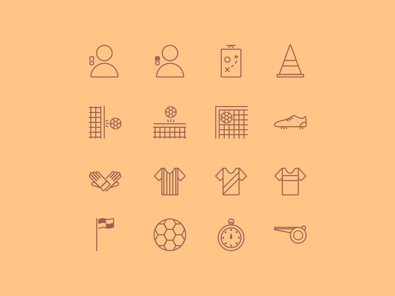 Footicons icons icon set line icons football soccer png eps svg psd ai sketch creative market