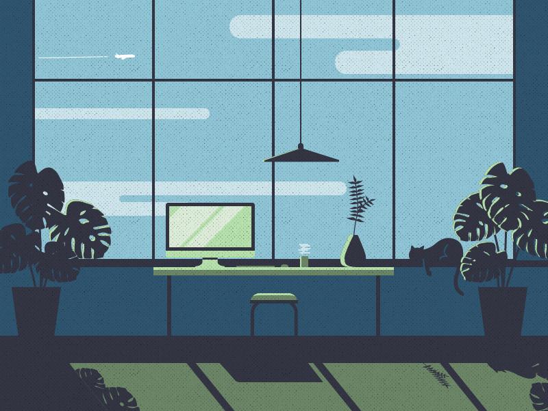 Color Exploration #2 monstera workspace office color exploration illustration