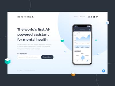 Healthynox - Coming soon website for mental health app mental health coming soon healthcare isometric illustration design ui landingpage website