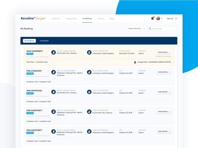 Freight Shipping Dashboard logistic web application web app app booking shipping shipment freight dashboard ux website ui