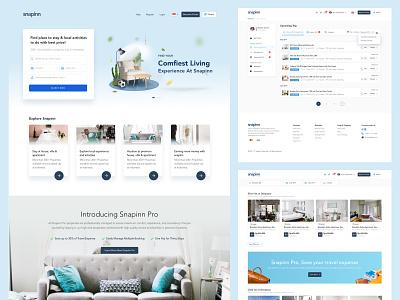 Snapinn - Rent Home, Villa & Apartment Website hospitality rent house home villa apartment landingpage website ux ui