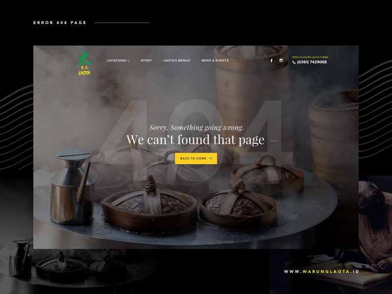 Warung Laota Website - 404 Page error page ui seafood restaurant 404 langdingpage fresh food website dark chinese bali