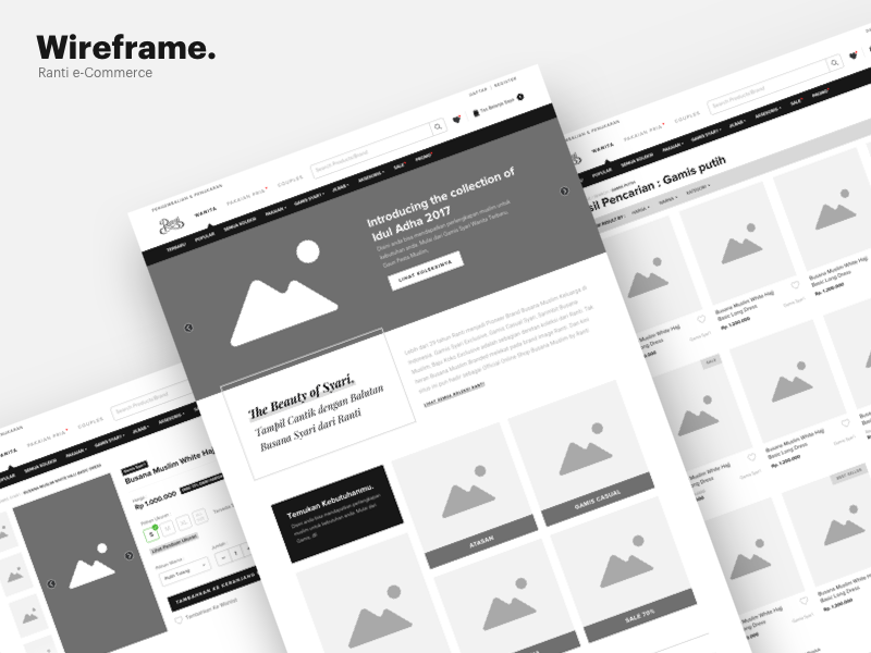 Wireframe - Ranti Ecommerce Website website muslim ecommerce wireframe