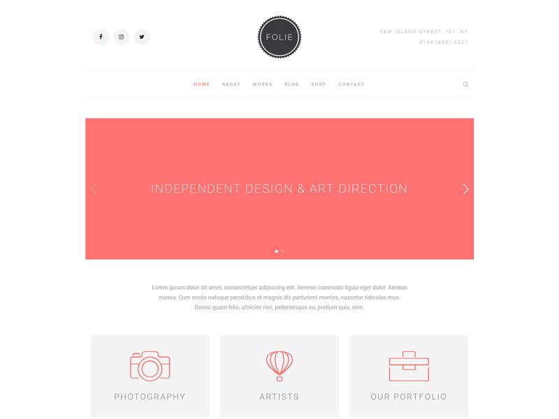 Creative Minimal - Folie - The WordPress Website Builder customizable small business personal theme wordpress folie freelance