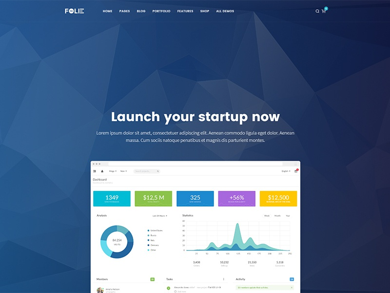Startup Demo - Folie WordPress Theme ui wordpress theme theme web design website wordpress