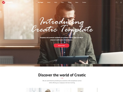 One Page Design with Creatic Parallax One Page WordPress theme one page parallax custom design website web design