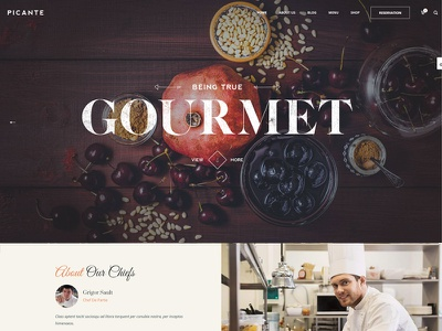 Picante - Restaurant & Food WordPress Theme website webdesign portfolio photography personal minimal gallery fullscreen restaurant clean blog agency