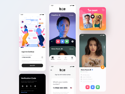 Bae Dating App design uiux app typography gradients design creative login screen dating app interface modern illustration