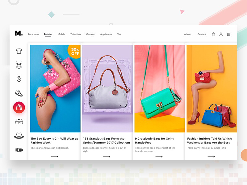 Shopping Website creative colorful bags design clean website shopping