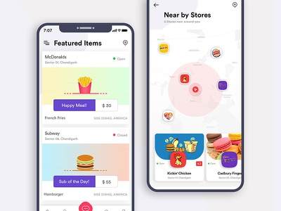 Food App iPhone X map subway searching food stores purple location mobile app creative design clean