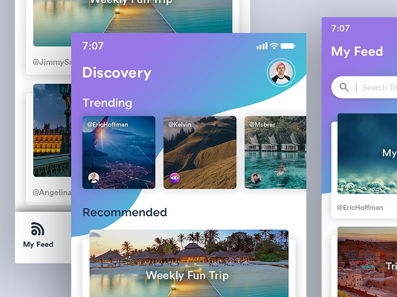 Trips App Design upload post trending tourist travel trips talktrip gray calendar blue gradient design concept clean app