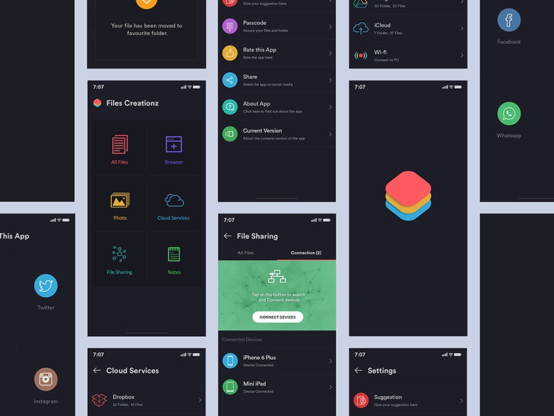 Dark Theme App whatspp app icon splash screen dark theme drive wifi mobile sharing document files
