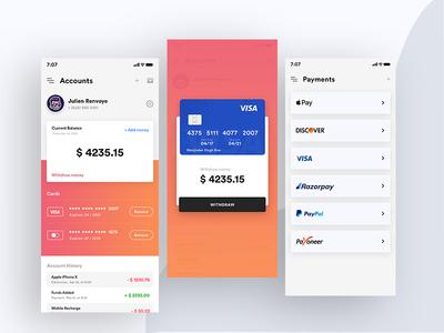 Wallet App gradients card credit card payment wallet ui design flat branding vector typography illustration app