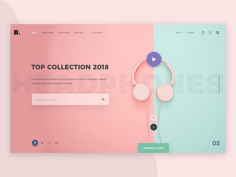 E Commerce Website electronic headphone creative design gradients interface website modern trending uiux landing ecommerce