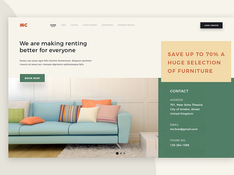 MC Furniture website ui trending page modern landing interface gradients furniture design creative