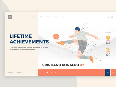 Football Awards design 2018 creative player awards uiux web design achievements goals games football matches