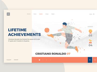 Football Awards design 2018 creative player awards uiux web design achievements goals games football matches