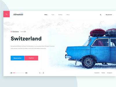 Switzerland creative uiux red  blue neat  clean modern holidays tourist explore reservation switzerland advanture